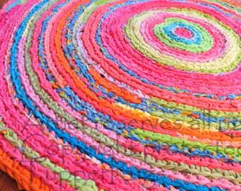 "rag rug/rag rug/crochet rug/nursery rug/girl crib bedding/kids rug/crochet rag rug/handmade/Lilly Pulitzer-inspired rug/""braided rug"""