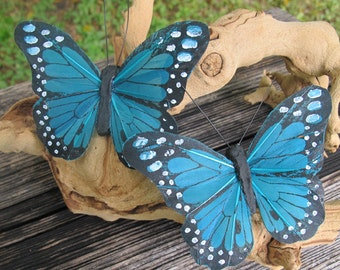 2- BLUE GREEN Feathers  Butterflies Hair Clips for weddings