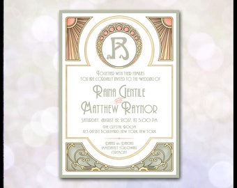 Art Nouveau Invitation / Mucha / Gatsby Wedding / Art Deco / Coral, Green & Gold / Suite: Save the Date, RSVP, Thank You, Place Cards, Etc.