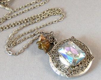 April's Bouquet,Vintage Necklace,Vintage Diamond,Vintage STone,Vintage Crystal,Vintage Locket,Vintage Diamond Necklace,April Birthstone