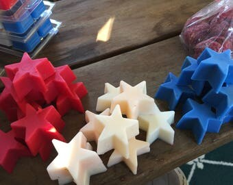 Fourth of July,  Stars, Scented Wax Melts, Blueberry, Vanilla, Hot Apple Pie DOMESTIC SHIPPING INCLUDED