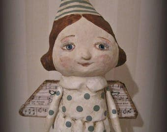 Guardian Angel papier mache ooak doll paper mache jointed arms