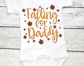Falling for Daddy-Baby Girl Fall outfit- Baby Girl Fall Bodysuit-Baby Boy Fall Outfit- Newborn Fall Bodysuit-Infant Thanksgiving- Headband