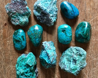 Chrysacolla Set - Rough from Arizona and Polished from Peru