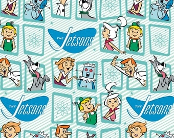 Jetsons - licensed Retro Frames in blue -  by Camelot Fabrics - your choice of cut
