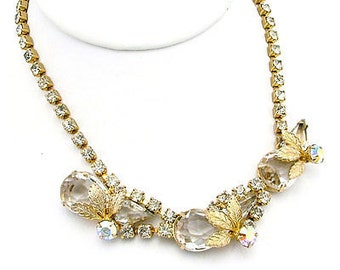 Juliana Style Necklace With Large Faceted Tear Drop Stones & Metal Leaf Accents