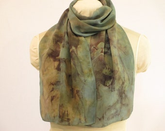 """Silk Scarf Eco Gift for Her - Indigo Blue-Green Taupe Brown - CDC11161217 - 11""""x56"""" (27 x 142cm)"""