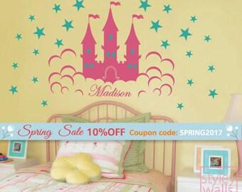Castle Wall Decal, Fairy Princess Castle Personalized Wall Decal for Girls, Castle Sticker Decal for Nursery Baby Room Decor Wall Art