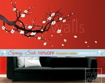 Cherry Blossom Branch Wall Decal, Sakura Tree Wall Decal, Cherry Blossom Tree Wall Decal, Cherry Branch Wall Sticker for Home Decor