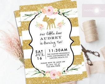 Deer Invite, Birthday Invite, Printable Birthday Invite, Watercolor, First Birthday, Stripes, Glitter, Fawn, Woodland Invite, jadorepaperie