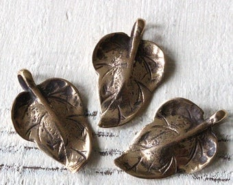 Bronze Leaf Pendant Charm - For Jewelry Making - Bronze Charm - Choose Amount