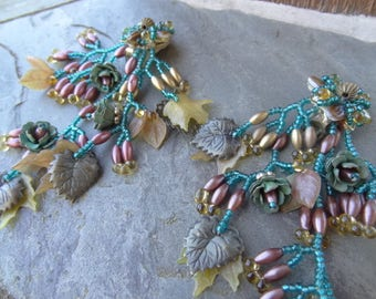 Vintage Colleen Toland Beaded Earrings. Turquoise Gold Mauve Patina Rose Buds, Fall Leaves, Multi Branch Clip On Earrings, Vintage Clip ons