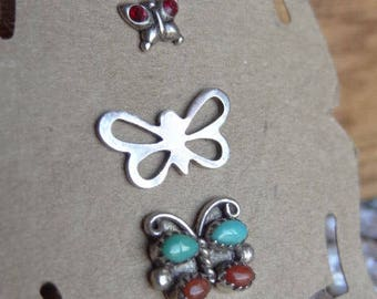 Vintage Stud Earring Trio. Butterfly Vintage Post Earrings. Red Turquoise and Silver Colors