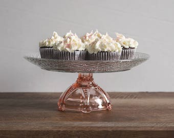 Pink and White Cake Stand // Vintage Glass
