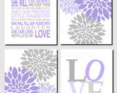 Purple Gray Wall Art, Nursery Decor, Kids Wall Art, Daughter Quote, Floral, Peonies, Modern, Love, She Is Our Daughter, Set of 4 Art Prints
