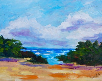 Modern Impressionist Original Oil Painting of Poipu Beach Kauai by Rebecca Croft
