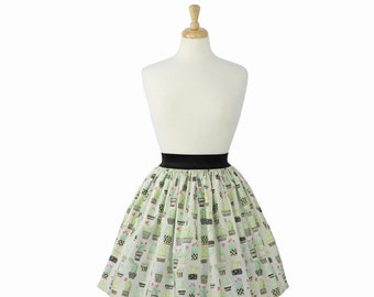 Cute Cacti and Succulents Pleated Skirt