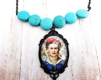 Frida Kahlo Necklace With Howlite Stones
