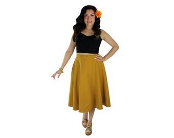 Tropical Mustard Yellow Full Circle Skirt