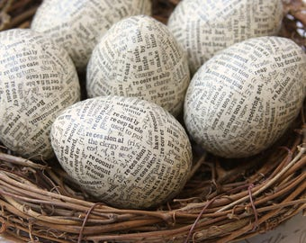 Half Dozen Antique Dictionary Paper Mache Eggs, Nest Included, Aged Paper, Ivory, Spring, Decoration, Centerpiece, Typography, Easter.