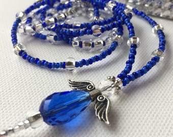 Cobalt Glass Angel ID Badge Lanyard great for the traveler or office employee