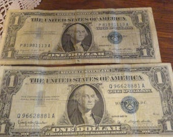 Vintage 1957 Dollar Bills Silver Certificates 60th birthday presents