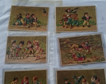 Antique French Au Bon Marche Chocolat Chocolate Trading Cards Set of 6 Original