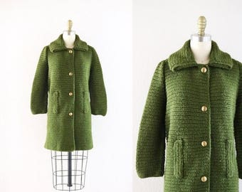 ON SALE 1960's hand knit sweater coat
