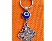 Silver Plated Baby Jesus and Mary, Blessing Protection Keychain, Keyring with Blue Glass Eye Good Luck Charm.