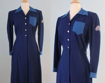 SALE 1930s wool dress / 30s hotel dress unifom / Albert Pick Hotels Uniform