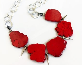 Red Silver Statement Necklace, Chunky Bib Necklace, Red Turquoise Textured Chain Necklace