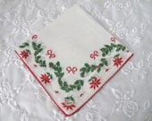 Vintage Burmel Holiday Handkerchief, Ladies Christmas Cotton Linen Hankie/Tea Napkin with Garlands of Holly, Poinsettias, ECS, FREE Shipping