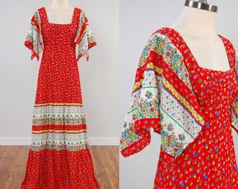 Vintage 70s red floral print SCARF sleeve maxi dress / floor sweeping / Bohemian summer dress