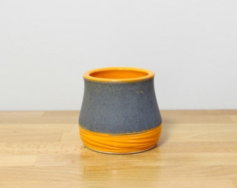 SALE!  Stoneware Small Tumbler, Stemless Wine glass, Ceramic Whiskey Cup, Juice Glass, Modern Ceramic Cup in Orange and Gray by Nstarstudio