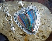 Romantic Rainbow Calsilica and Sterling Silver Necklace