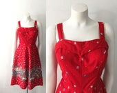 Vintage 1970s Dash About Sun Dress Red Floral Print Fit and Flare Dress