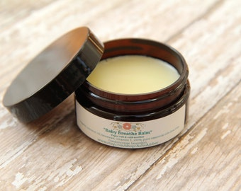 Natural Baby Vapor Rub, baby breathe balm, chest congestion, cough cold soother, organic chest rub, essential oils, natural salve