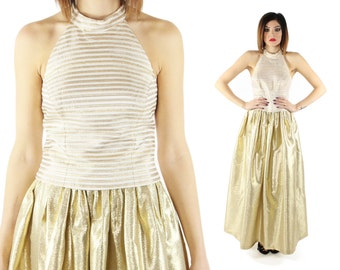 Vintage 90s Halter Top Cocktail Party Blouse Sleeveless Shirt Gold White Striped 1990s Cache Medium M