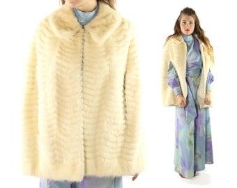 Vintage 60s Ivory Mink Cape Scalloped White Blond Fur Leather Bridal Wedding Coat Shawl Stole 1960s Medium M