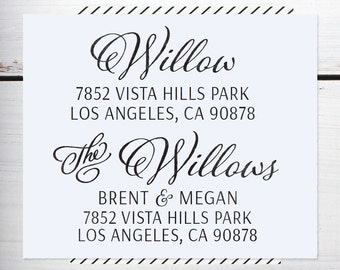 Custom Address Stamp, Personalized Address Stamp, Christmas Calligraphy Stamp, Wedding Address Stamp, Eco Mount or Self Inking - Willow