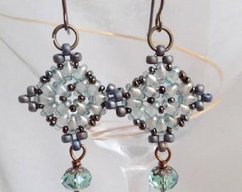 pale blue super duo gods eye earrings