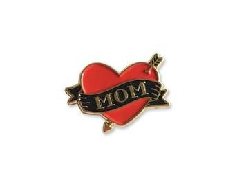 Mom Tattoo Enamel Pin – Lapel, Soft Enamel, Mothers Day Gift, Mother, Heart