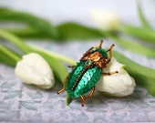 Reserved for bubblecanelle, Scarabaeus Bug Brooch, Sequin Scarab Pin, Emerald Bronze Sequins, Sequin Felt Embroidery, Sacral Scarab Insect