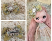 Blythe doll hair bow light green floral fabric Handmade vintage style handmade by Olive Grove Primitives