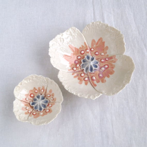 For Bonnie only, Wall POPPY with pale grey and pink ceramic glazes