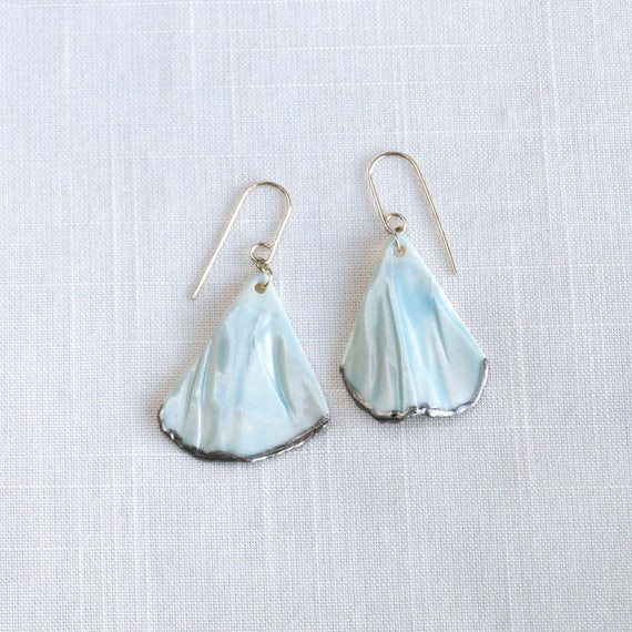 RUCHED No6 artisan celadon blue porcelain earrings with silver accents and sterling silver