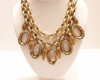 Vintage Double Strand Gold Charm Necklace Choker with Mesh and Gold Charms - 16 Inches