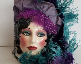 Vintage Clay Art Ceramic 1920s Flapper Face Mask Wall Hanging