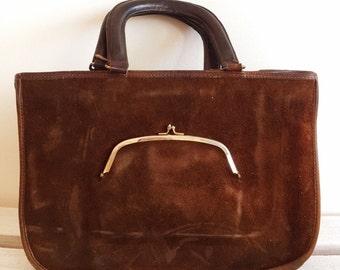 vintage coach watermelon tote handbag, kisslock coin purse, bonnie cashin, pre creed, nyc brown suede leather 60s purse mocha