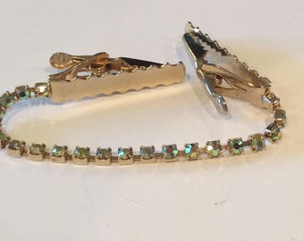 Vintage Sweater Clip with Rhinestones and Goldtone clips, Aurora Borealis Rhinestones and Ornate Goldtone bar clips, Sweater closure